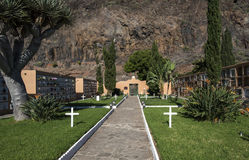 Cemetery with white crosses. In Gomera Island Royalty Free Stock Photo