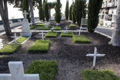 Cemetery with white crosses. Of the island la Gomera Stock Images
