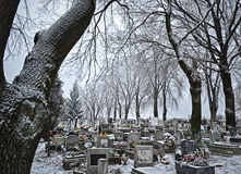 Cemetery in winter Royalty Free Stock Photography