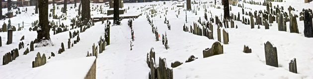 Cemetery in winter Royalty Free Stock Images