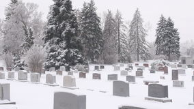 Cemetery in Winter Pan Stock Images