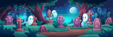 Free Cemetery With Ghosts At Nigh, Graveyard In Forest Royalty Free Stock Images - 210006899