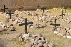 Cemetery wooden crosses Royalty Free Stock Photo