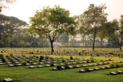 Cemetery of World War 2 casualties, Kanchanaburi Royalty Free Stock Photos