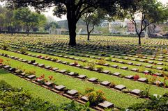 Cemetery of World War 2 casualties, Kanchanaburi Stock Photos