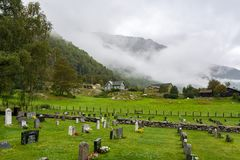 Cemetry of the Borgund Stave Church in Norway Stock Photography