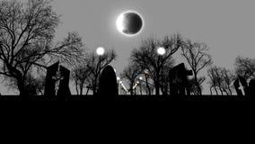 Cemetry siniestro con las tumbas en Halloween en la noche ilustración del vector