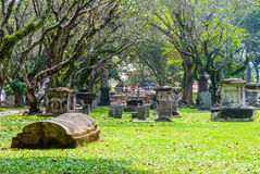 Cemetry with trees in George town, Penang Royalty Free Stock Photography