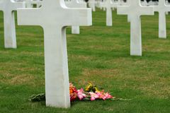 Cemitério americano de Normandy na praia de Omaha, France. Imagens de Stock