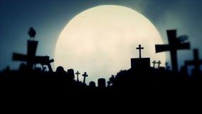 Cemitério assustador na noite da Lua cheia com corvos ilustração royalty free
