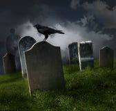 Cemitério com lápides velhas Imagem de Stock