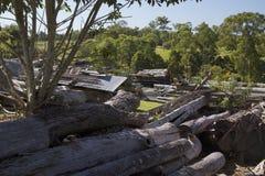 Cemitério de automóveis com logs e maquinaria agrícola velha Imagens de Stock