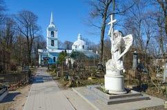 Cemitério de Smolensk, St Petersburg, Rússia Igreja do ícone de Smolensk da mãe do deus Imagens de Stock Royalty Free
