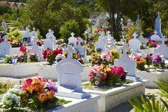 Cemitério em St Barths, das caraíbas Fotografia de Stock