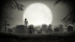 Cemitério escuro Tempo de Dia das Bruxas ilustração stock