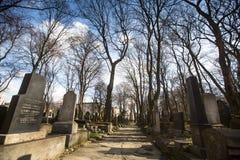 Cemitério judaico novo na vizinhança judaica histórica de Kazimierz Fotos de Stock Royalty Free