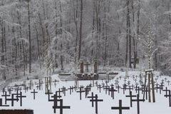 Cemitério militar, cemitério da guerra, inverno do cemitério da guerra, inverno militar do cemitério, neve do inverno dos soldado fotografia de stock