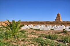 Cemitério muçulmano antigo, grande mesquita, Kairouan, Sahara Desert, fotografia de stock