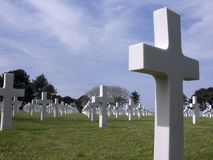 Cemitério na praia de Omaha, Normandy, France. Imagem de Stock