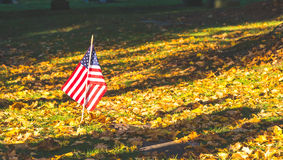Cemitério nacional com uma bandeira no Memorial Day em Washington, EUA Imagem de Stock Royalty Free