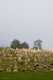 Cemitério nevoento imagens de stock