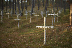Cemitério no cemitério militar da floresta na floresta Fotos de Stock Royalty Free