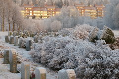 Cemitério no inverno imagens de stock