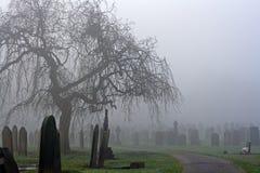 Cemitério velho assustador em um dia frio nevoento Fotografia de Stock Royalty Free