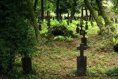 Cemitério velho em Khust, Ucrânia Foto de Stock