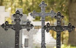Cemitério com cruzes Fotos de Stock Royalty Free