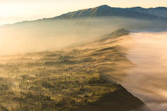Cemoro Lawang; small village in morning mist. Which situated on the edge of massive north-east of Mount Bromo, East Java, Indonesi Stock Image
