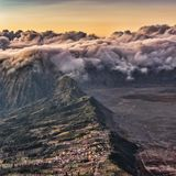 Cemoro Lawang village high altitude with beautiful clouds background stock image