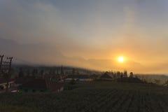 Cemoro lawang village at sunrise royalty free stock photo