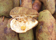 The Cempedak. Was cut in half to see inside. Fruit grown in the south of Thailand and north of Malaysia Stock Images
