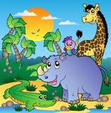 Cenário africano com animais 3 Foto de Stock Royalty Free