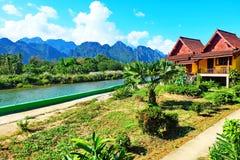Cenário agradável Vang Vieng Foto de Stock Royalty Free