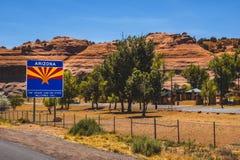 Cenário América EUA da garganta do sinal do estado do Arizona imagem de stock royalty free