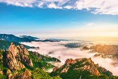 Cenário bonito com névoa da manhã na cimeira de Sorakshan em Coreia do Sul fotografia de stock royalty free