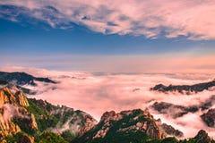 Cenário bonito com névoa da manhã na cimeira de Sorakshan em Coreia do Sul fotos de stock royalty free