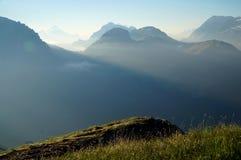 Cenário bonito da montanha na manhã Imagem de Stock