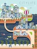 Cenário bonito da vida urbana Imagens de Stock Royalty Free