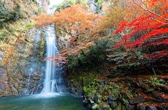 Cenário bonito de uma cachoeira grande que cai abaixo do penhasco rochoso em uma lagoa verde cercada pela folha colorida do outon fotografia de stock