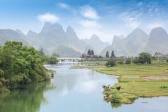 Cenário bonito do rurality do yangshuo Fotos de Stock