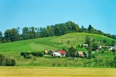 Cenário com as casas em montanhas de Julian Alpine no Eslovênia fotos de stock