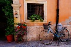 Cenário da cidade flores da janela da bicicleta Fotos de Stock