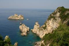 Cenário da costa de Corfu Imagens de Stock