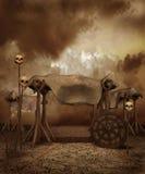 Cenário da fantasia com crânios ilustração royalty free