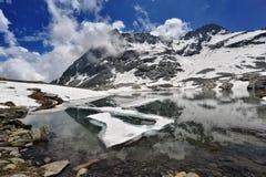 Cenário da montanha alta com lago e neve Fotos de Stock
