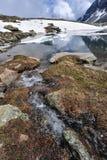 Cenário da montanha alta com lago e neve Imagem de Stock Royalty Free