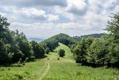 Cenário da montanha com prado da montanha, fuga de caminhada com poucos caminhantes, montes cobertos pela floresta e o céu azul c Fotografia de Stock